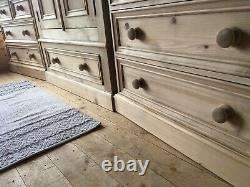 Rustic solid pine bedroom set large double door wardrobe and 2 chest of drawers