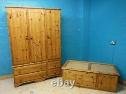 SOLID WOOD LARGE 3 DOOR 4 DRAWER TRIPLE WARDROBE + TOPBOX H238 W131cm- SEE SHOP