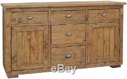Salone reclaimed pine furniture large two door five drawer sideboard