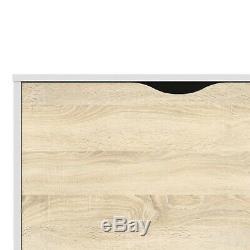 Scandi Modern White & Oak Large Sideboard / 2 Door 3 Drawer Side Cabinet Unit