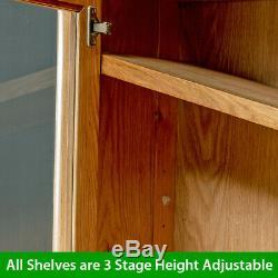 Scandi Oak Glazed 2 Door 2 Drawer Tall Display Cabinet Unit Large Wide SC21