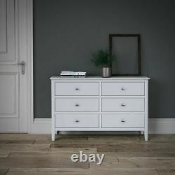 Scandi Retro White Large Sideboard / 3 Door 3 Drawer Large Storage Unit