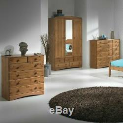 Scandi Waxed Pine Bedroom Furniture Large Wide 3 Door 5 Drawer Wardrobe Mirror