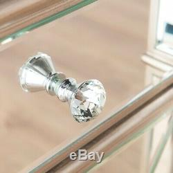 Silver Mirrored Glass Large Sideboard 4 Doors Drawers Antoinette Furniture