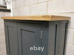 Slate Blue Painted Large Double 2 Door/4 Drawer Larder Pantry Food Cupboard