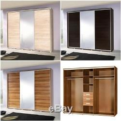 Sliding Door Wardrobe with Mirror Rails Shelves Drawers Large FREE Assembly