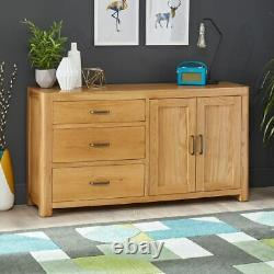 Soho Oak Large Sideboard with 3 Drawers and 2 Doors-EX-DISPLAY- SC23-F302