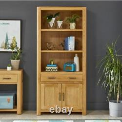 Soho Oak Large Tall Bookcase with 2 Door Cupboard and Drawer SC19