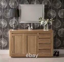 Solid Oak Large Sideboard 2 Drawer 2 Door Storage Cupboard 100%