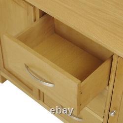 Solid Oak Large Sideboard Cabinet w 3 Drawer Rustic Solid Wood Storage Cupboard