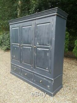 Solid Painted Large Pine 3 Door Wardrobe With 3 Drawers FREE DELIVERY