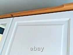 Solid Pine Grey Painted Large Triple Door, Nine Drawer Wardrobe with Mirror