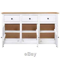 Solid Pinewood Large Sideboard with 3 Drawers & 3 Doors Cupboard Cabinet Storage