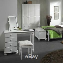 Solid White 3 Door 4 Drawer Wardrobe Solid Chunky Large Triple Robe Lots of Room