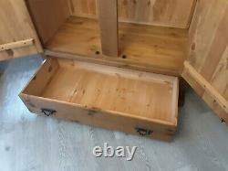 Solid Wood Rough Sawn Plank Pine Double Door Wardrobe Large Drawer (2 available)