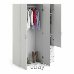 Space Bedroom Furniture Large Wide White Wardrobe with 3 Doors and 3 Drawers