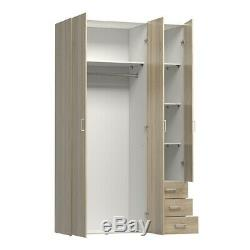 Space Tall Large Wide Modern Wardrobe Storage Unit 3 Doors 3 Drawers Sonoma Oak