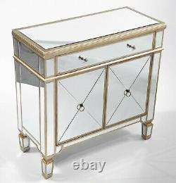 Stanton 2 Door 1 Drawer Mirrored Sideboard Cupboard Buffet Champagne Gold Finish