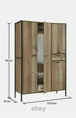 Stretton Urban Industrial 4 Door Large Wardrobe with Drawer Rustic Bedroom