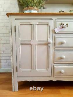 Stunning Large Ercol Welsh Dresser Sideboard Cupboard Cabinet Shabby Chic Grey