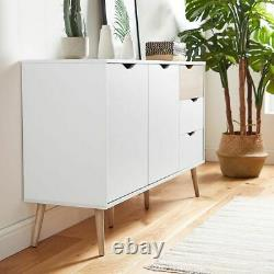 Super Style Sideboard Large 3 Drawers 2 Doors in White and Oak