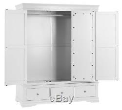 Sussex White Painted 3 Door 3 Drawer Wardrobe / Large White Triple Robe / New