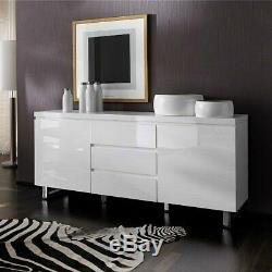 Sydney 2 Door Large Sideboard In High Gloss White With 3 Drawer