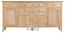 Tetbury Oak 4 Door 6 Drawer Large Sideboard