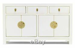 The Nine Schools Oriental Qing White Large Sideboard 4 Doors & 3 Drawers