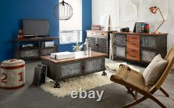 Urban Industrial Reclaimed Metal and Solid Wood 3 Drawer 2 Door Large Sideboard