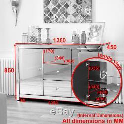Venetian Mirrored Large Sideboard 3 Drawers Cabinet 2 Doors Cupboard TFM6