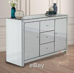 Venetian Mirrored Large Sideboard 3 Drawers and 2 Doors Glass Furniture Cabinet