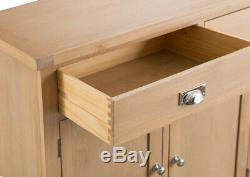 Vermont Oak Large 4 Door 3 Drawer Sideboard / Solid Wood Cabinet Storage Unit