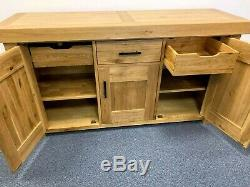 Very Large New Boxed Contemporary Heavy Oak 3 Door 3 Drawer Sideboard