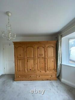 Very Large Waxed Pine Wardrobe, 4 doors, 2 Lage Drawers