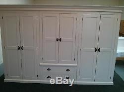 Victorian 6 Door 2 Drawer Ex Large Wardrobe Cream With Rustic Cup Handles