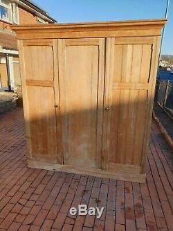 Victorian pine large 3 door wardrobe linen built in chest of drawers cupboard