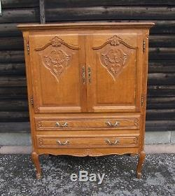 Vintage French Carved Oak 2 Door/2 Drawer Large Side Cabinet (con820)
