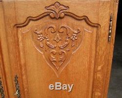 Vintage French Carved Oak 2 Door/2 Drawer Large Side Cabinet (svlsc8)