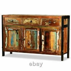 Vintage Large Sideboard Reclaimed Wood Cabinet Industrial Doors Cupboard Drawers