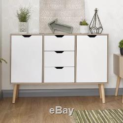 Vintage Retro Sideboard Large Storage Unit Oak Nordic Cabinet Wooden Drawer Door