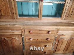 Vintage Welsh Dresser Cabinet Drawers Cupboard Large Glass Doors 2 Parts #IN36