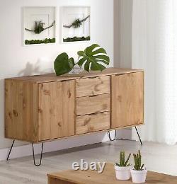 Waxed Pine Retro Large 2 Door 3 Drawer Sideboard Cupboard on Metal Hairpin Legs