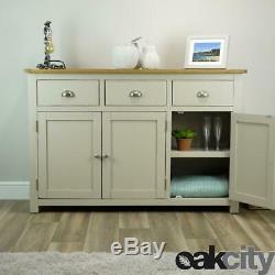 Wellington Painted Sideboard / Large 3 Door 3 Drawer Cupboard / Solid Oak Top