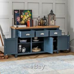 Westbury Blue Painted Large 3 Drawer 3 Door Sideboard Dining Cupboard BP37