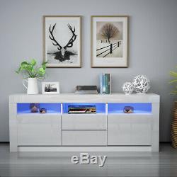 White 160cm Large TV Unit Sideboard Cabinet High Gloss Drawer Door LED Light