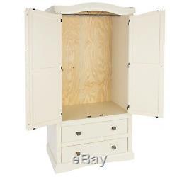White Large 2 Door Wardrobe Hanging Rail and Shelf 2 Storage Drawer Metal Handle