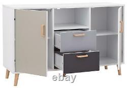 White Multi Coloured Large Sideboard 2 Door 2 Drawer Storage Shelf Spindle Legs