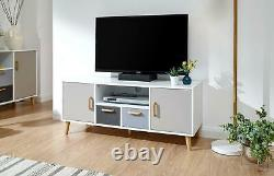 White Multi Coloured Large TV Stand 2 Door 2 Drawer Cupboards Wood Spindle Legs