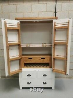 White Painted Large Double 2 Door/ 4 Drawer Larder Pantry Food Cupboard